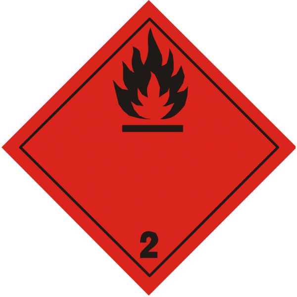 """Знак """"Класс 2. Легковоспламеняющиеся газы"""""""