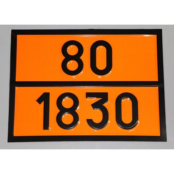 """Табличка ДОПОГ - """"Кислота серная, содержащая более 51% кислоты"""" (UN1830)"""
