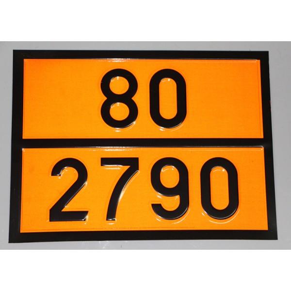 """Табличка ДОПОГ - """"Раствор уксусной кислоты с массовой долей кислоты более 10% и менее 50%"""" (UN2790)"""
