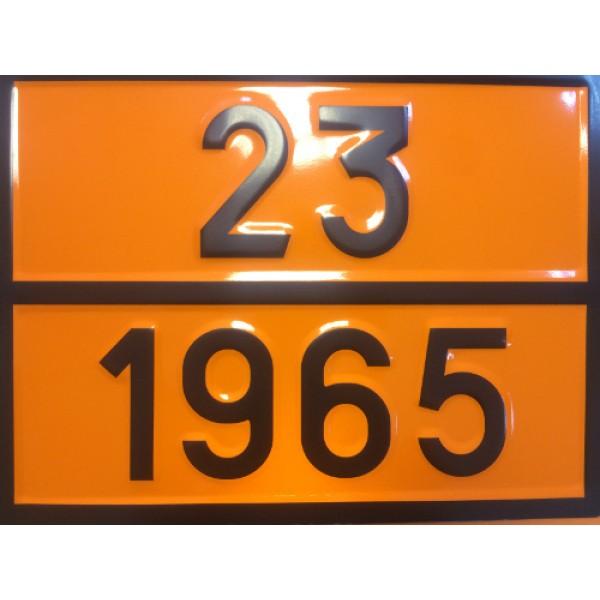 """Табличка ДОПОГ - """"Смесь газов углеводородных сжиженная"""" (UN1965)"""