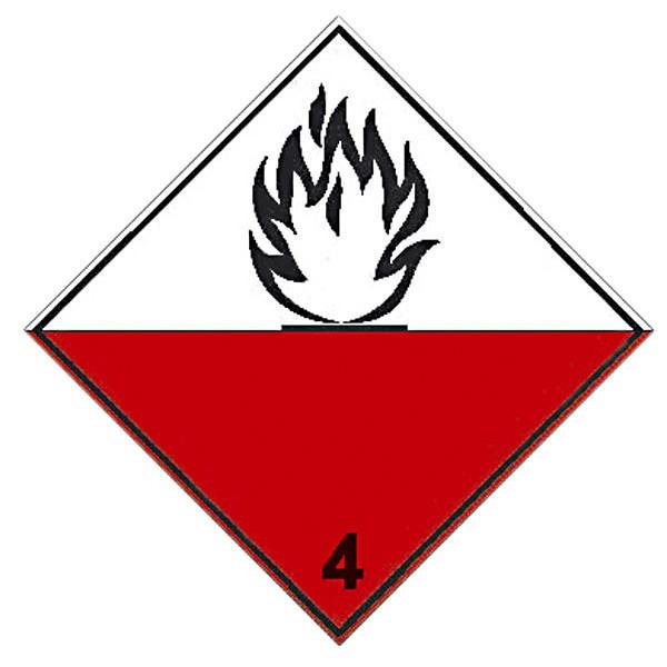 """Знак """"Подкласс 4.2. Вещества, способные к самовозгоранию"""""""