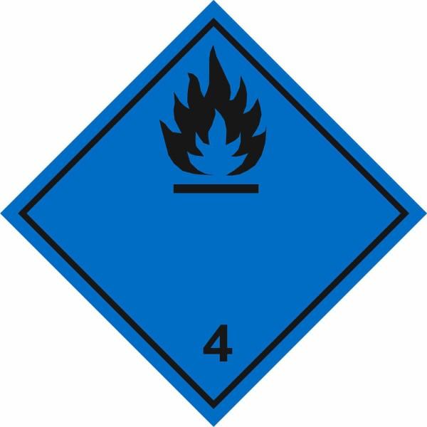 """Знак """"Подкласс 4.3. Вещества, выделяющие легковоспламеняющиеся газы, в контакте с водой"""""""